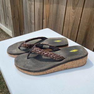 Volatile Brown Chunky Platform Sandals